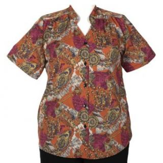 Cartouche Mandarin Collar V Neck Tunic Plus Size Woman's Blouse: Clothing