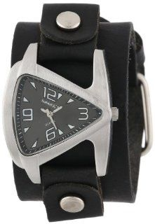 Nemesis Women's GB024K Signature Stainless Steel Triangle Shaped Leather Cuff Watch: Watches