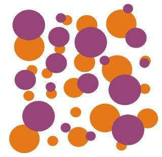set of 106 Orange and Purple polka dots Vinyl wall lettering stickers quotes and sayings home art decor kit peel stick mural graphic appliques decal   Wall Banners