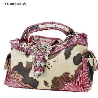 WESTERN COW PRINT PURSE HANDBAGS   PINK: Everything Else