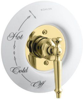KOHLER K T134 4D PB Antique Rite Temp Pressure Balancing Valve Trim with Lever Handle, Requires Ceramic Dial Plate, Valve Not Included, Vibrant Polished Brass: Home Improvement
