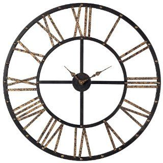 Sterling 129 1024 Restoration Metal Framed Roman Numeral Open Back Wall Clock, 28 by 28 Inch, Mombaca Black/Gold   Large Decorative Wall Clocks