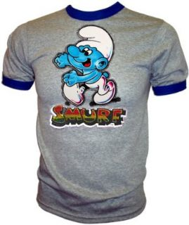 Vintage 1981 Glitter Peyo Smurf Smurfs original cartoon collectible Iron On T Shirt, x small: Clothing