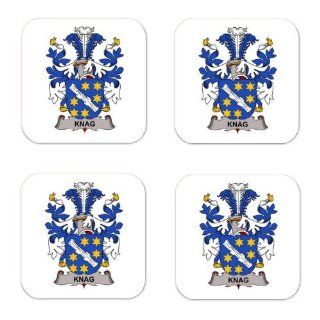 Knag Or Knagennielin Family Crest Square Coasters Coat of Arms Coasters   Set of 4