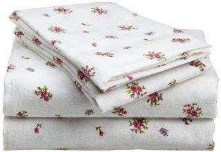 Divatex 100 Percent Cotton Flannel Full Sheet Set, Petite Fleur   Pillowcase And Sheet Sets