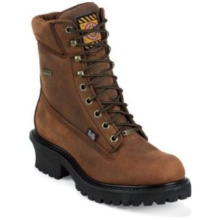 """Justin Men's Waterproof Harness Gore Tex 8"""" Lace Up Logger Boot Steel Toe Shoes"""
