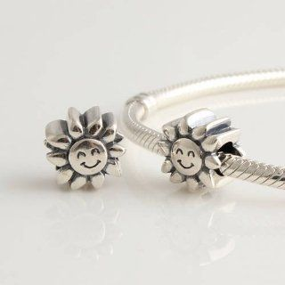 DUMAN 1pc 925 Sterling Silver Beads Fathers Day Gifts Sunflower Charms Compatible with Pandora Chamilia Kay Troll European Bracelet: Arts, Crafts & Sewing