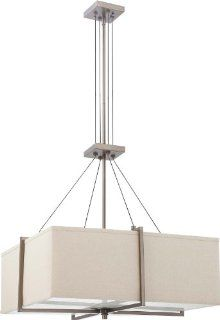 Nuvo Lighting 60/4067 Four Light Logan Square Pendant with Khaki Fabric Shade/Cream Diffuser, Hazel Bronze: Home Improvement