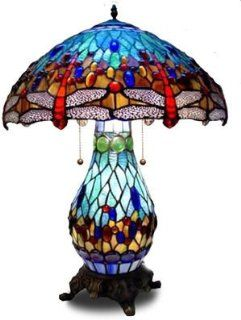 Lifetime International Blue American Handmade Dragonfly Tiffany Style Stained Glass Table Lamp Lamps with Lit Base. T18020b Model: Home Improvement