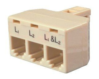 Allen Tel AT173 4 Conductor, 6 Position Plug, Accomodates Two Single Line and One Two Line Telephones Triplex Modular Adapter Electronics