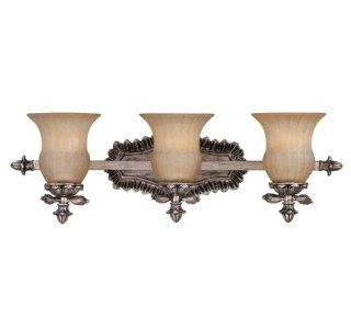 Savoy House 8 9733 3 176 Florita Collection 3 Light Bath Bar, Silver Lace Finish with Cream Textured Glass: Home Improvement