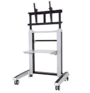 PostureDesks S 950 Heavy Duty Mobile TV Stand for displays weight capacity up to 176 lbs, sleek modern design with metal shelf : Utility Carts : Office Products