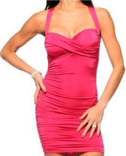 PINK RUCHED SEXY COCKTAIL FITTED X BACK MINI DRESS, LARGE at  Women�s Clothing store