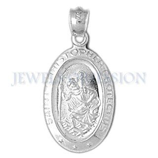 14K White Gold Saint Christopher Pendant: Jewels Obsession: Jewelry