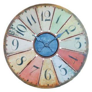 Ashton Sutton Large Multi Colored 24 in. Wall Clock   Wall Clocks