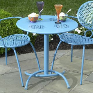 Alfresco Home Daisy Mesh 27.5 in. Round Bistro Table   Blue Hawaiian   Patio Tables