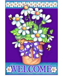 Toland 28 x 40 in. Daisy Welcome House Flag   Flags