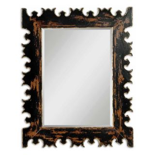 Caissa Heavy Distressed Black & Gold Wall Mirror   34W x 43H in.   Wall Mirrors