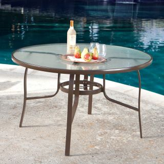 Coral Coast Del Rey 48 Inch Glass Top Dining Table   Patio Tables