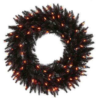 Vickerman Black Fir Pre Lit Wreath   Orange Lights   Halloween