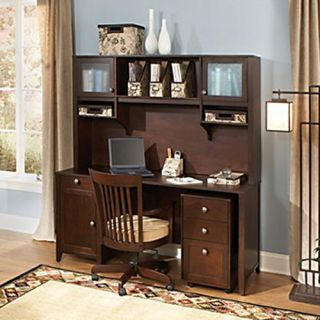 kathy ireland Office by Bush Furniture Grand Expressions Home Office Collection Desk 3 Drawer Filing Cabinet, & Hutch Bundle   Computer Desks