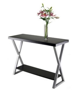 Winsome Korsa Console Table with Black Top and Metal Legs   Console Tables