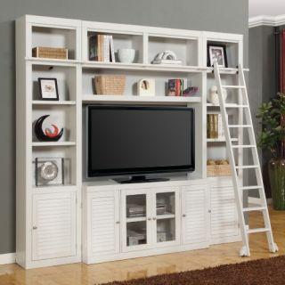 Parker House Boca Space Saver Library Wall Entertainment Center Bookcase   Cottage White   Bookcases