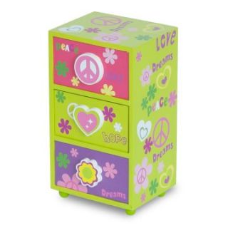 Mele Daisy Girls Peace & Love Jewelry Box   Green   5W x 9H in.   Girls Jewelry Boxes