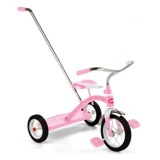 Radio Flyer Classic Pink 10 in. Tricycle with Push Handle   Pedal Toys