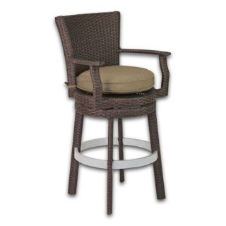 Patio Heaven Signature Swivel Round Barstool with Arms   Outdoor Bar Stools