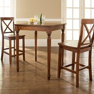 Crosley 3 Piece Pub Dining Set with Turned Leg and X Back Stools   Indoor Bistro Sets