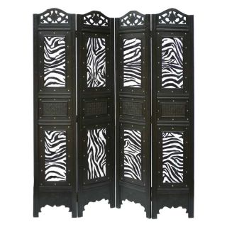 Phat Tommy 4 Panel Zebra Animal Print Room Divider Screen   Room Dividers
