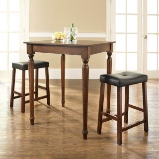 Crosley 3 Piece Pub Dining Set with Turned Leg and Upholstered Saddle Stools   Indoor Bistro Sets