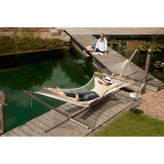 Gale Pacific Double Person Cotton Hammock with Timber Spreader Bar   Outdoor Hammocks