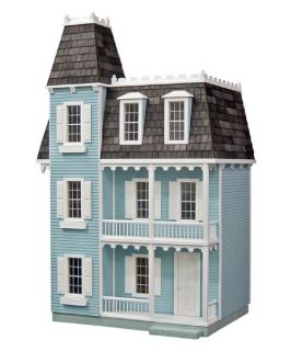 Real Good Toys Finished Alison Dollhouse   Blue   Collector Dollhouse Kits