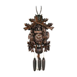 River City Clocks MD847 21 Dancers with Dead Animals & Leaves, Buck Musical Hunter's Cuckoo Clock   Cuckoo Clocks