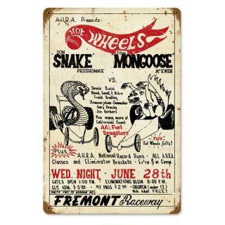 Don Prudhomme Snake vs. Mongoose Vintage Metal Sign   Wall Sculptures and Panels