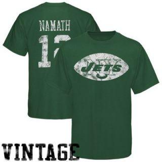 Reebok New York Jets #12 Joe Namath Green Retired Legends Vintage T shirt