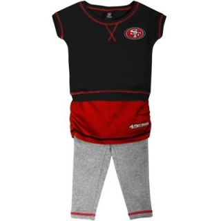 San Francisco 49ers Preschool Girls 2 Piece Crew T Shirt & Leggings Set   Black/Scarlet/Ash