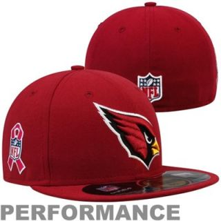 New Era Arizona Cardinals Breast Cancer Awareness On Field 59FIFTY Fitted Performance Hat   Red