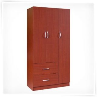 Home Source 3 Door Wardrobe with 2 Shelves   Closet Organizers