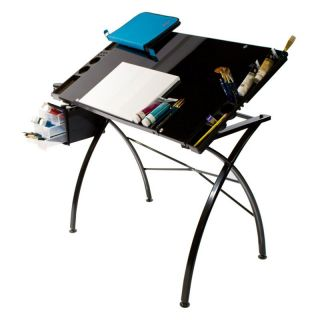 Martin 23.5x35.5in. Glass Top Dezign Line Drawing Table and Work Side Trays   Drafting & Drawing Tables