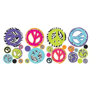 Zebra Peace Signs Peel and Stick Wall Decals   Wall Decals