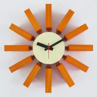 George Nelson Orange Block 11.41 in. Wall Clock   Wall Clocks