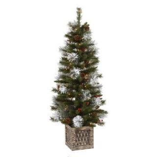 Vickerman 4 ft. Potted Snow Tip Pre Lit Christmas Tree   Christmas Trees