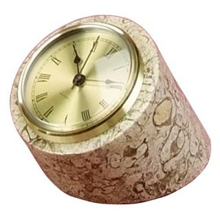 Fossil Marble Tilted Pillar Desktop Clock   Desktop Clocks