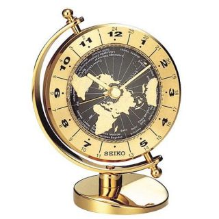 Seiko Brass World Time Desktop Clock   Desktop Clocks