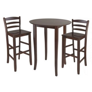 Winsome Fiona 3 Piece High Round Table with Ladder Back Stool   Dining Table Sets