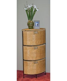 4D Concepts 3 Drawer Wicker & Metal Corner Unit   Indoor Wicker Furniture