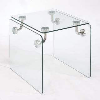 Magnussen Clarion Glass Rectangular End Table   End Tables